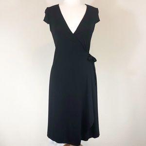 BCBG MaxAzria Black Deep V Neck Wrap Dress